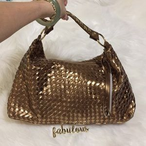 Gold leather weave bag